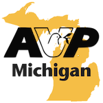 AVP Logo over Michigan Map